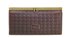 OSPREY LONDON  The Woodhouse Frame Purse  in chocolate Houndstooth Saddle leather, RRP -ú75